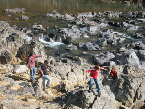 Johnson's Shut-Ins - family playing on rocks