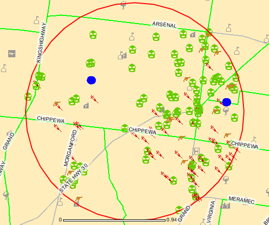 St. Louis city crime map in Tower Grove South