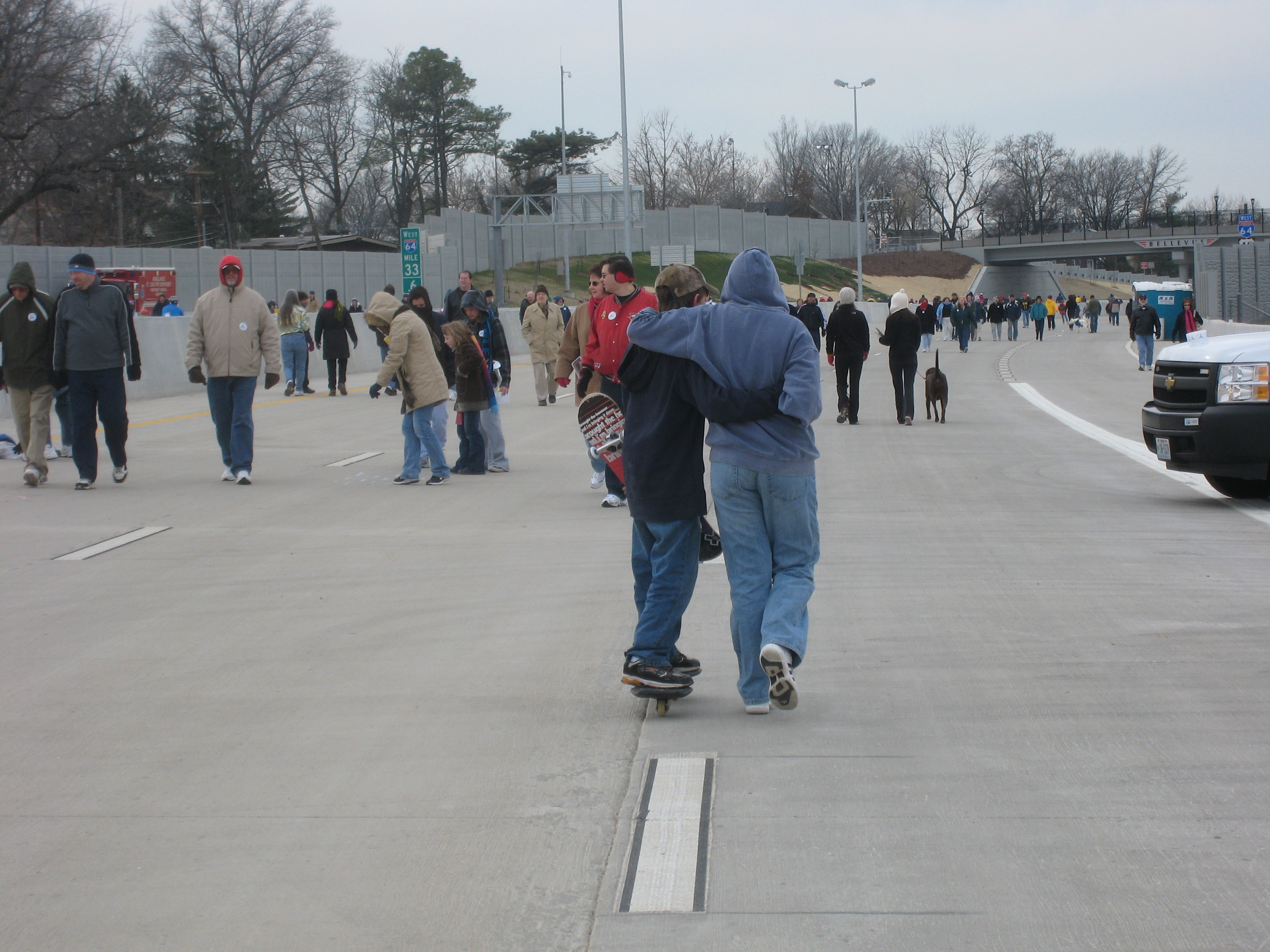 St. Louis Hwy 64 Re-opening day - walk on the highway