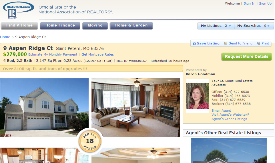 Realtor.com upgraded home listing screenshot