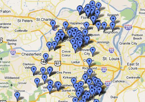 St. Louis smoking ban exempt bars map