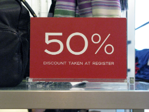 50% Discount sale sign