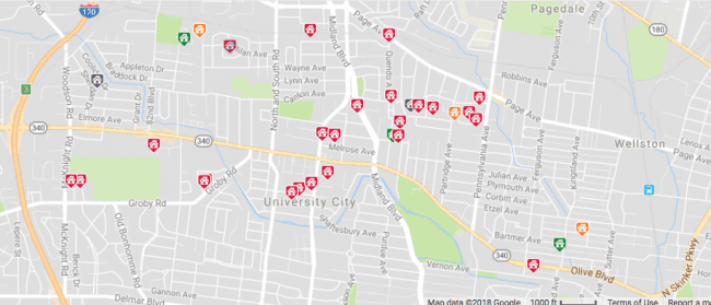 Map of St. Louis homes for sale