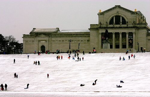Snow Days in St. Louis: Sledding on Art Hill