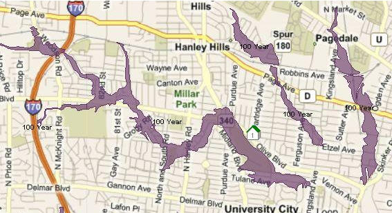 University City, MO – Flood Zone Map