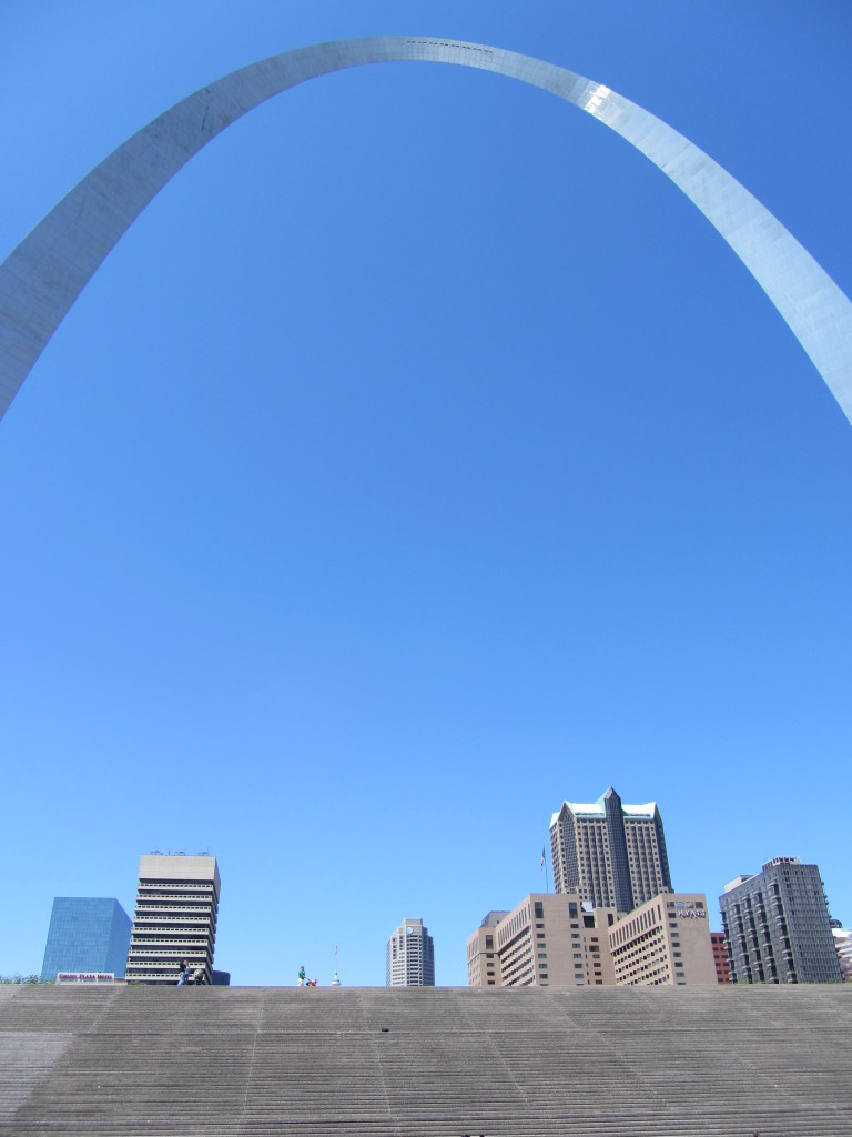 St. Louis Arch - steps and downtown view