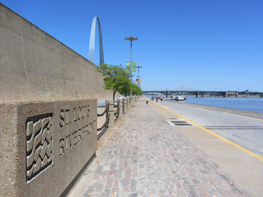 St. Louis riverfront and arch