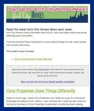 Arch City Homes newsletter
