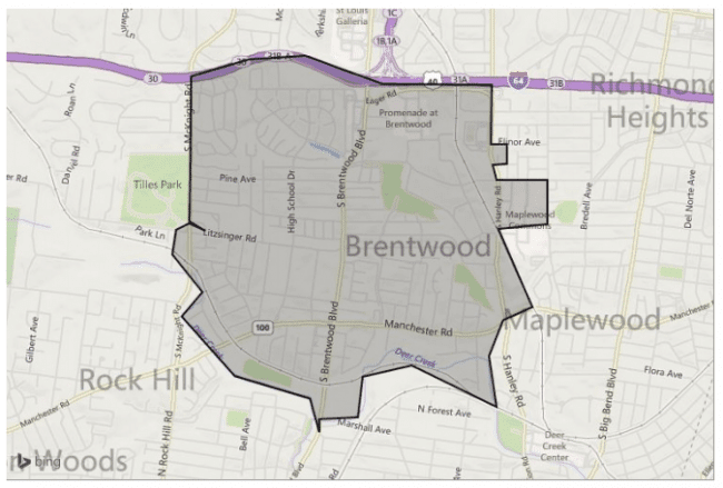 Map of Brentwood, MO