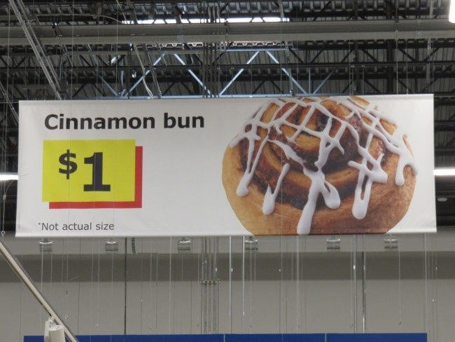 Image result for ikea cinnamon bun advert $1, not actual size